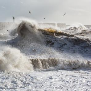 Sunlit waves in winter storm, Newhaven
