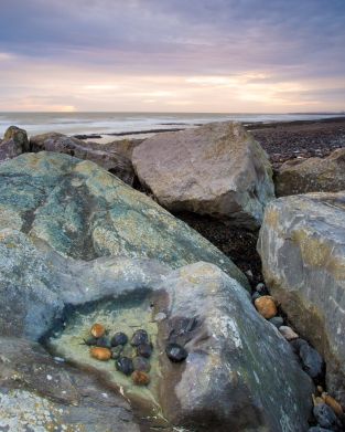 Pebbles in a rock at Rottingdean, Sussex